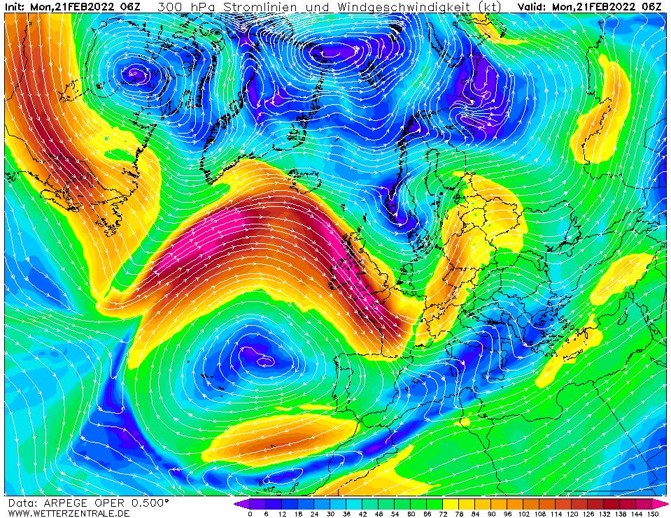 Prévision vent mesuré à une hauteur de 10 m, pour la France, calculée pour 06 h TU