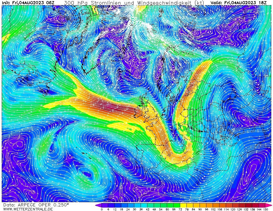 Prévision vent mesuré à une hauteur de 10 m, pour la France, calculée pour 18 h TU