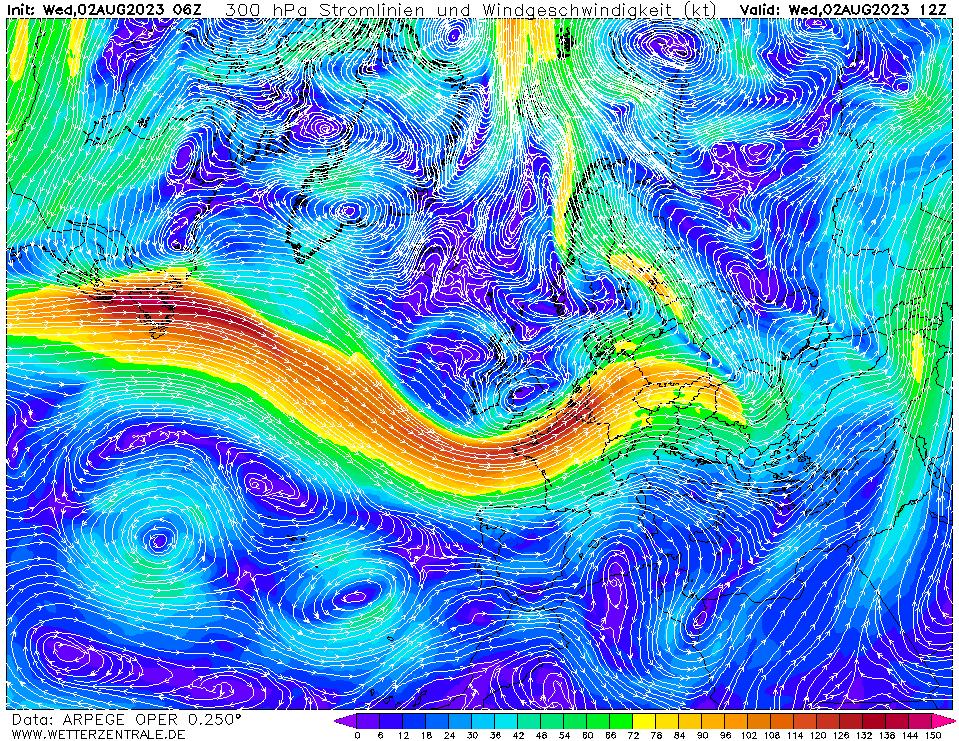Prévision vent mesuré à une hauteur de 10 m, pour la France, calculée pour 12 h TU