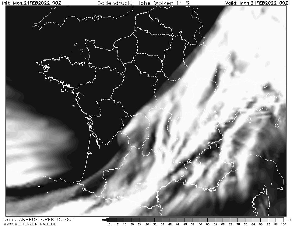 Prévision couverture nuageuse (nuages élevés), calculée pour 00 h TU width=