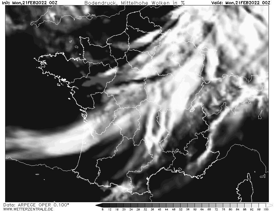 Prévision couverture nuageuse (nuages de moyenne altitude), calculée pour 00 h TU width=