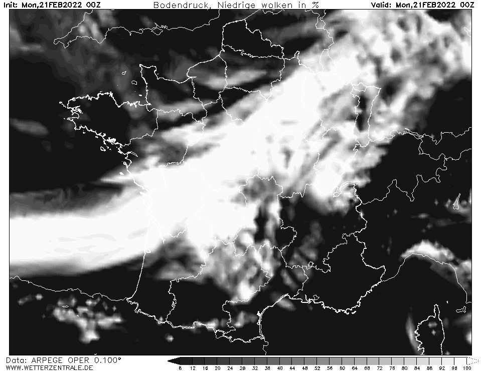 Prévision couverture nuageuse (nuages bas), calculée pour 00 h TU width=