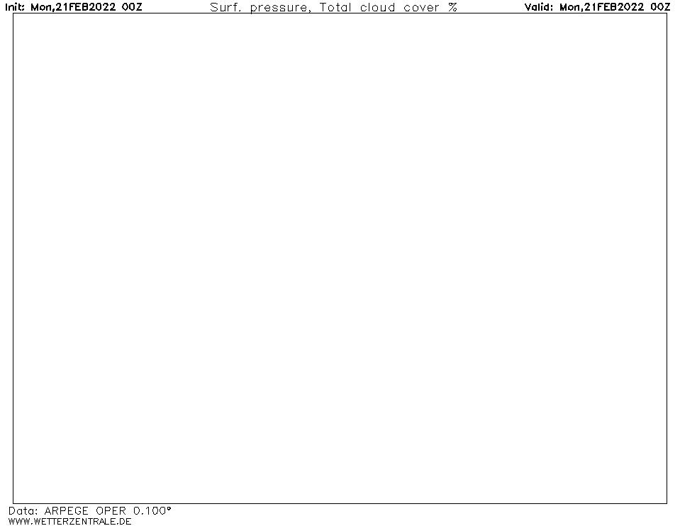 Prévision couverture nuageuse (totale), calculée pour 00 h TU width=