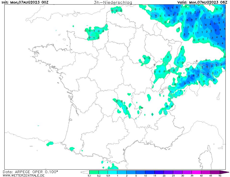Prévision de précipitation à 06 h TU, initialisé à 00 h TU, validité 6 h
