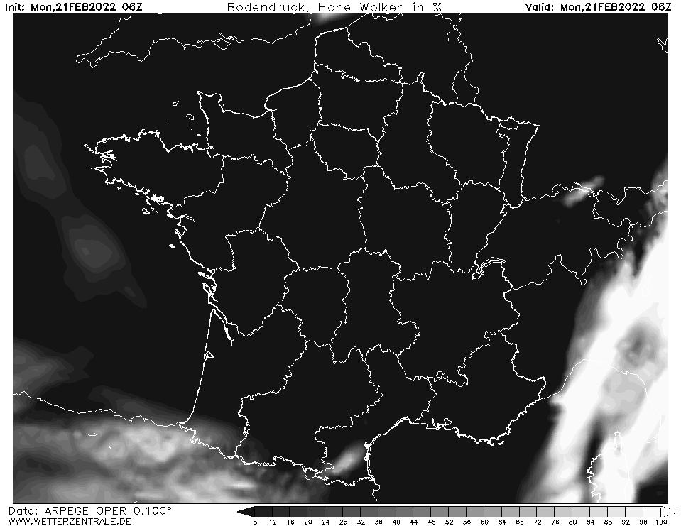 Prévision couverture nuageuse (nuages élevés), calculée pour 06 h TU