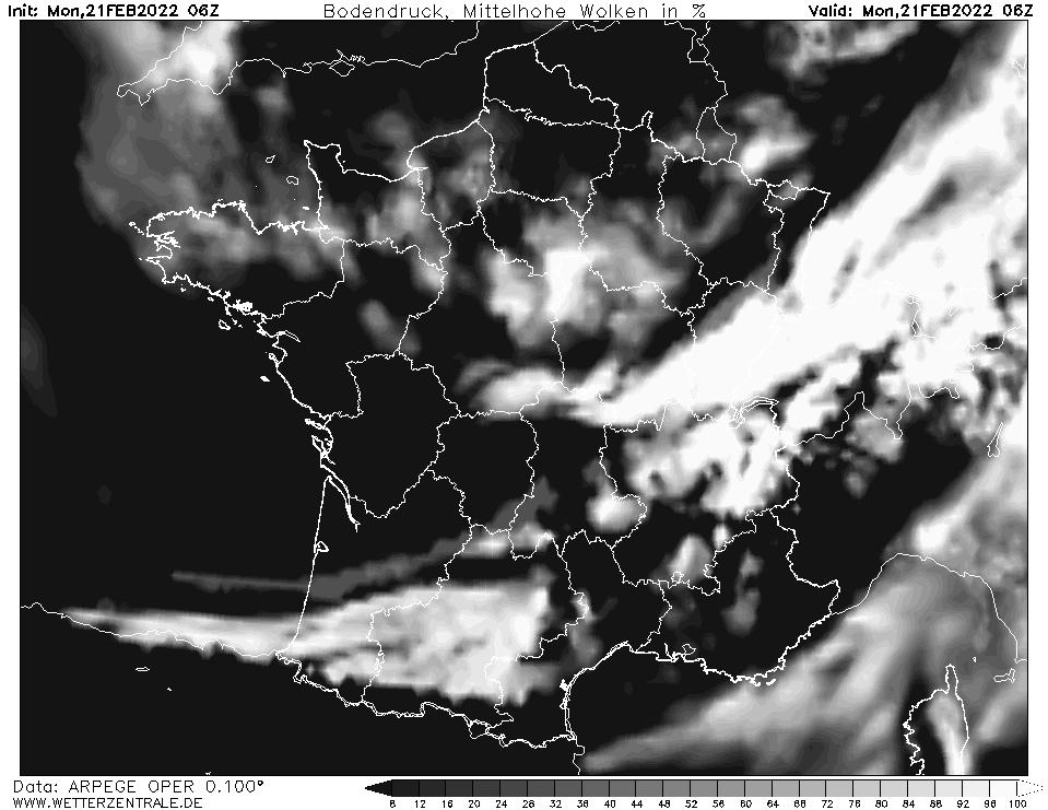 Prévision couverture nuageuse (nuages de moyenne altitude), calculée pour 06 h TU