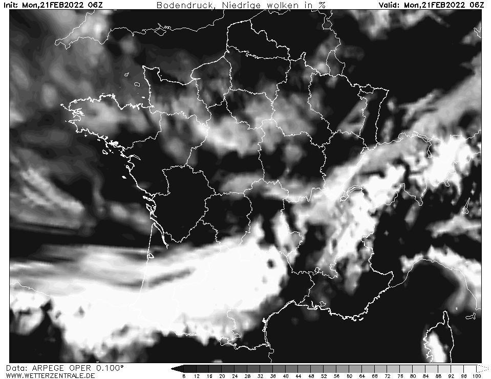 Prévision couverture nuageuse (nuages bas), calculée pour 06 h TU