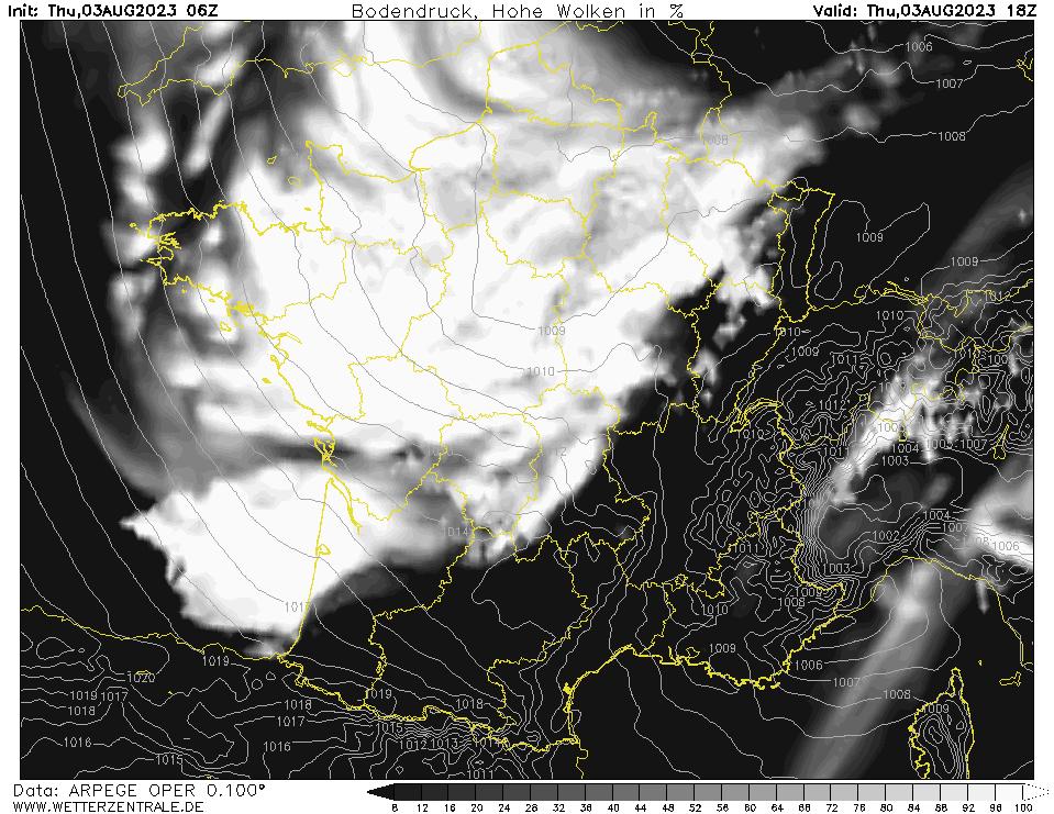 Prévision couverture nuageuse (nuages élevés), calculée pour 18 h TU