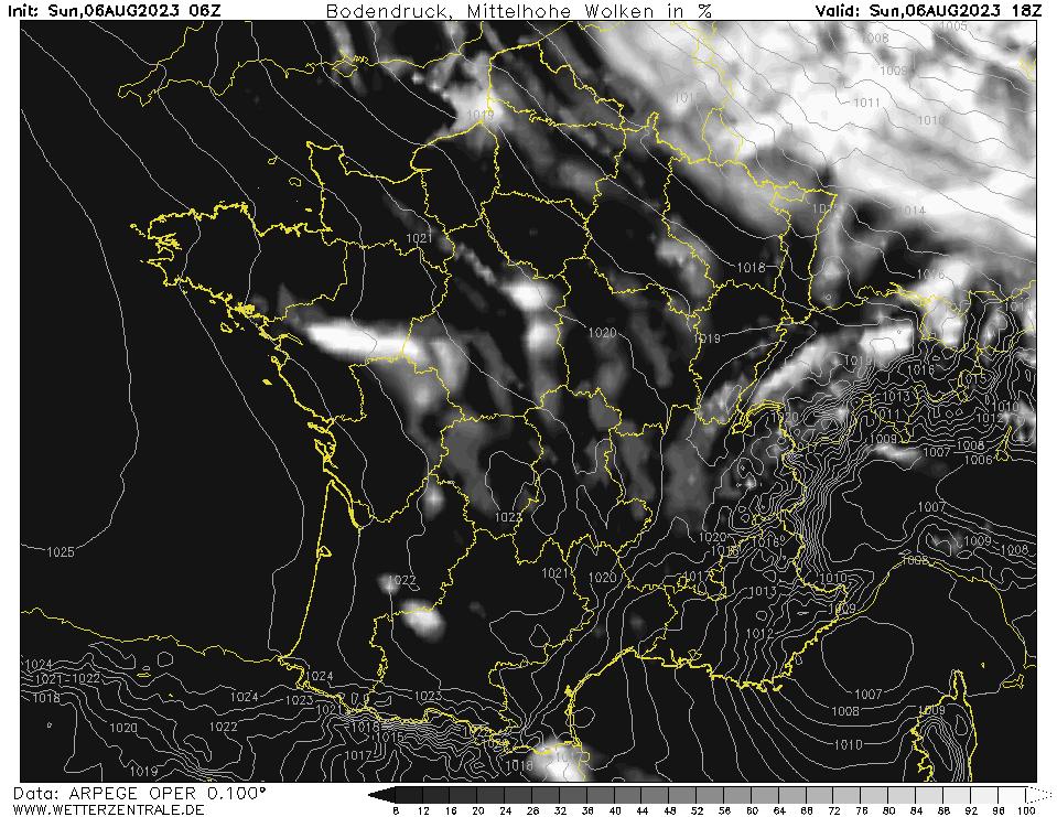 Prévision couverture nuageuse (nuages de moyenne altitude), calculée pour 18 h TU