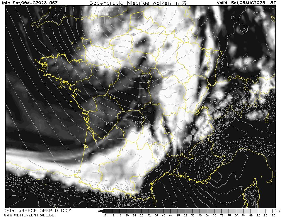 Prévision couverture nuageuse (nuages bas), calculée pour 18 h TU