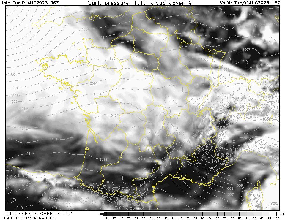 Prévision couverture nuageuse (totale), calculée pour 18 h TU