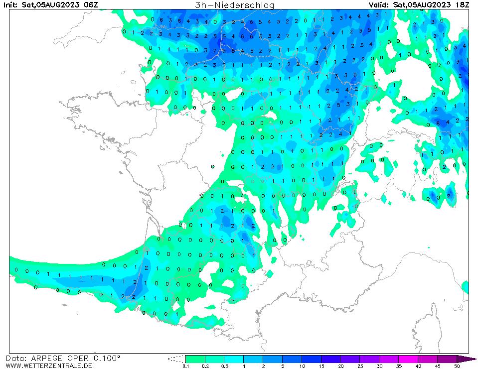 Prévision de précipitation à 18 h TU, initialisé à 06 h TU