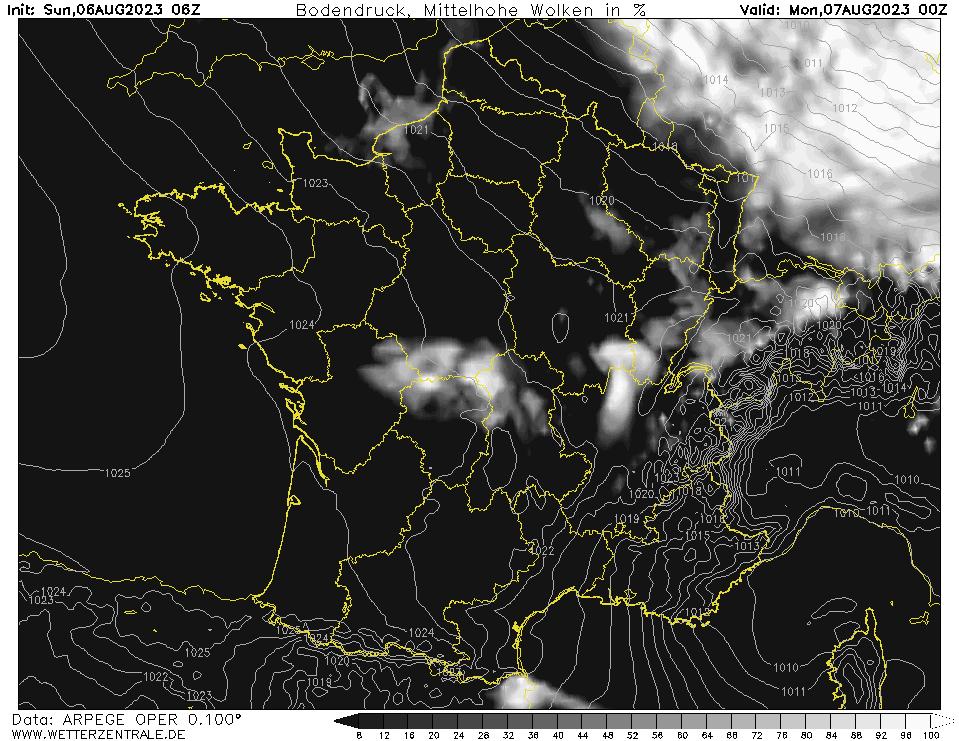 Prévision couverture nuageuse (nuages de moyenne altitude), calculée pour 24 h TU = 00 h TU le lendemain