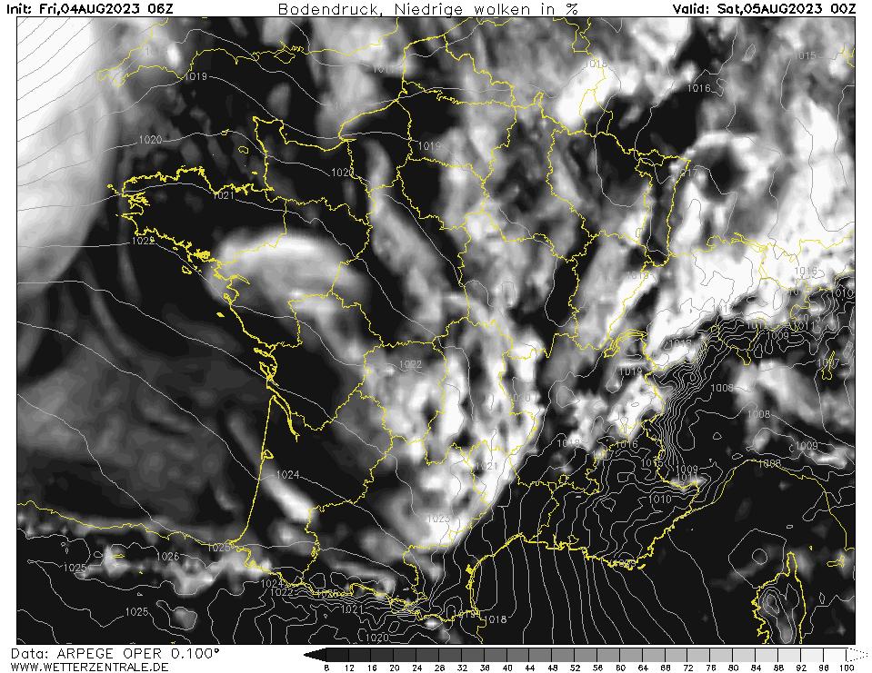 Prévision couverture nuageuse (nuages bas), calculée pour 24 h TU = 00 h TU le lendemain