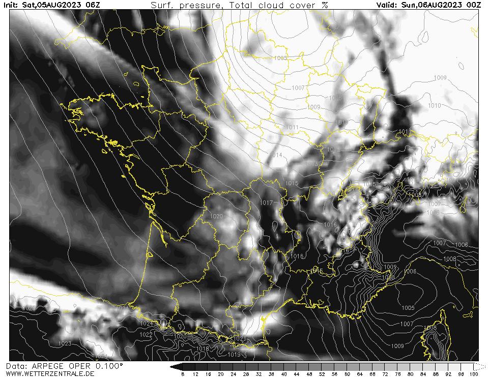 Prévision couverture nuageuse (totale), calculée pour 24 h TU = 00 h TU le lendemain