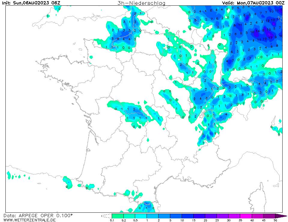 Prévision de précipitation à 24 h TU, initialisé à 06 h TU