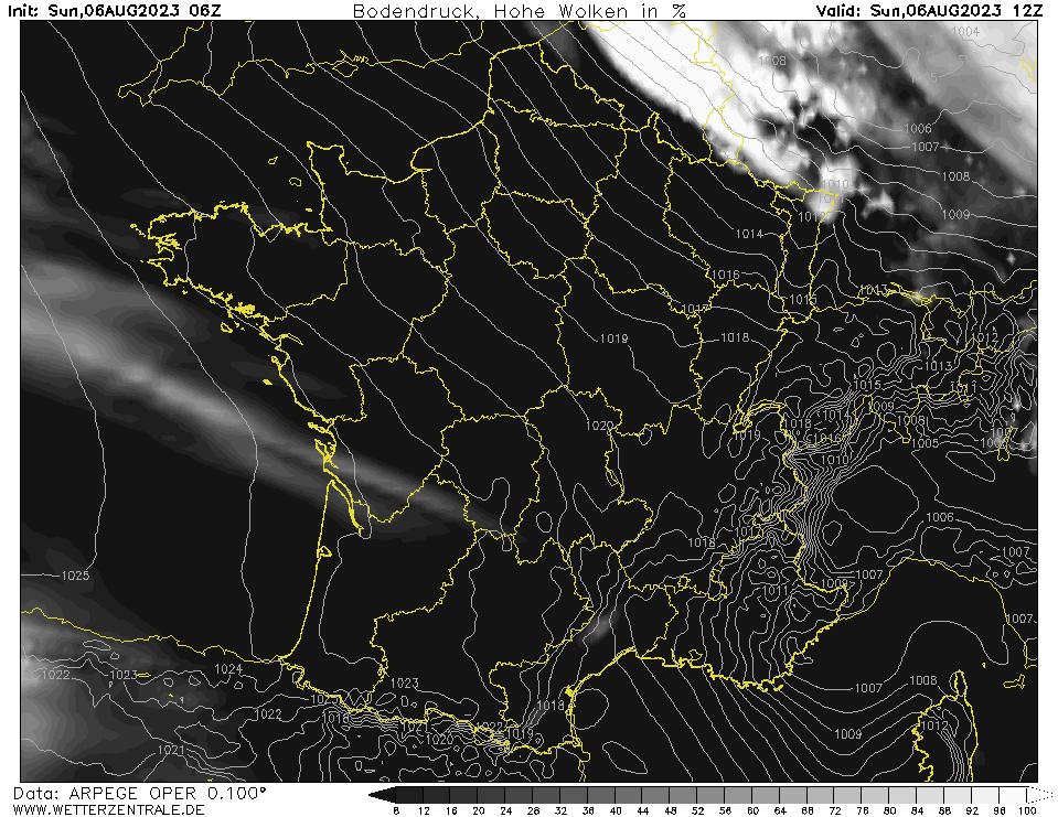 Prévision couverture nuageuse (nuages élevés), calculée pour 12 h TU