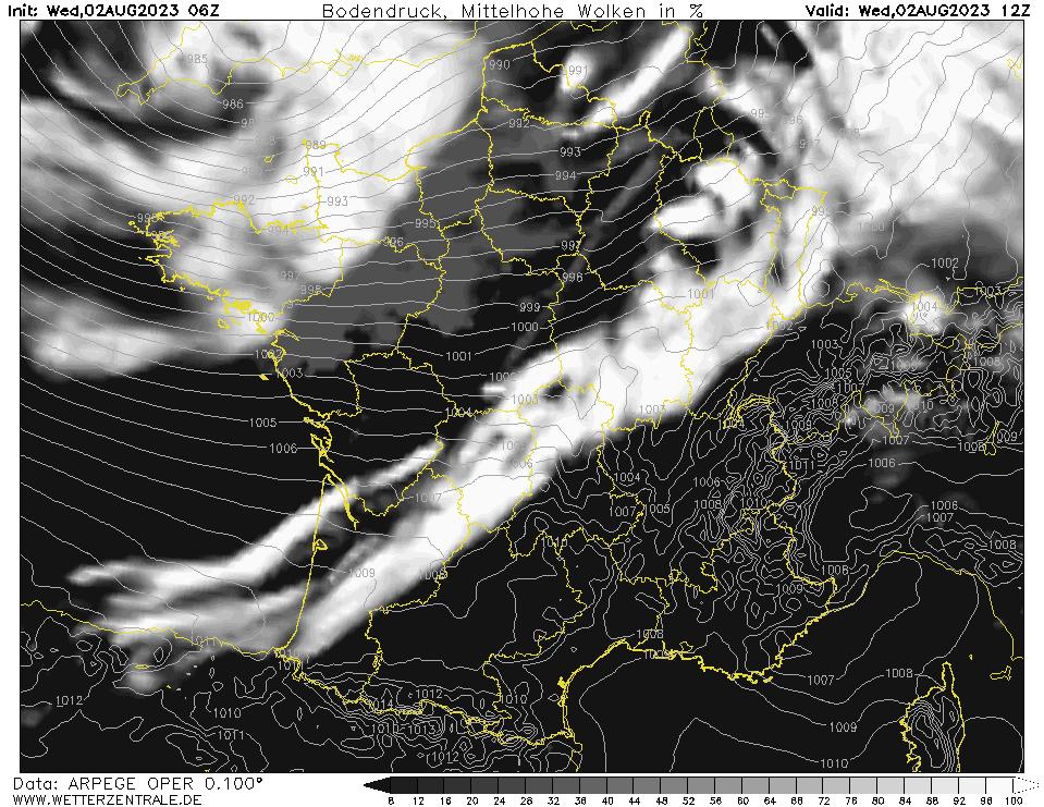 Prévision couverture nuageuse (nuages de moyenne altitude), calculée pour 12 h TU