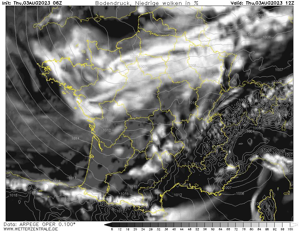 Prévision couverture nuageuse (nuages bas), calculée pour 12 h TU