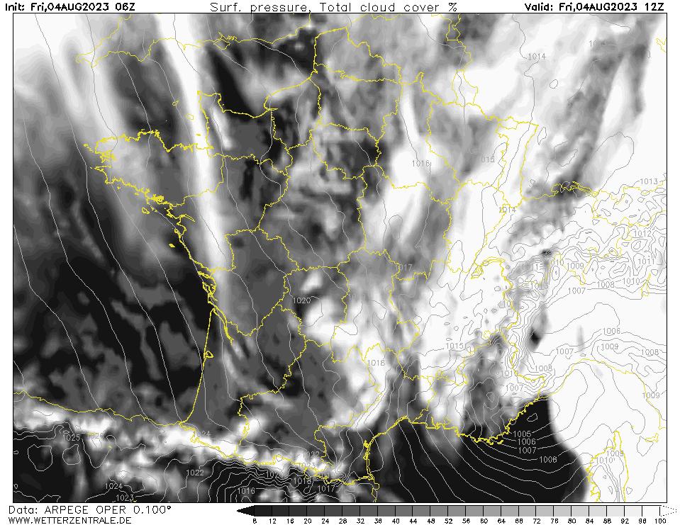 Prévision couverture nuageuse (totale), calculée pour 12 h TU