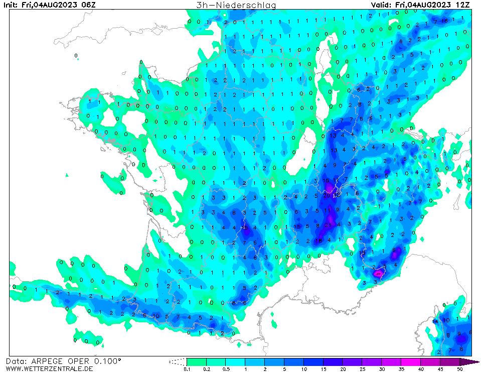 Prévision de précipitation à 12 h TU, initialisé à 06 h TU, validité 6 h