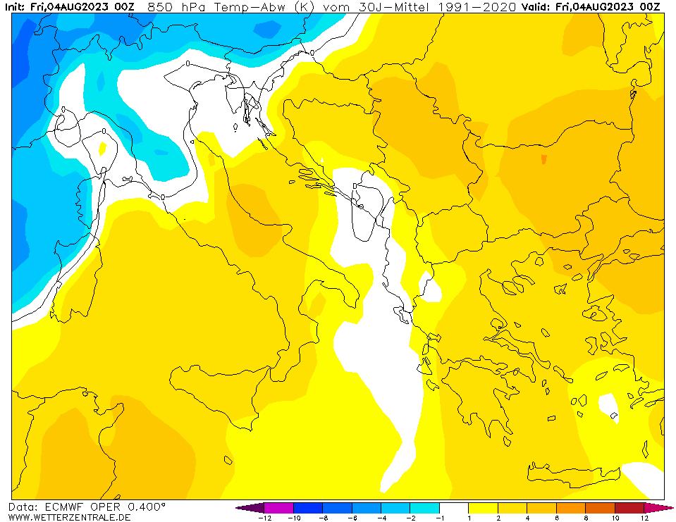 mappa meteo ECMWF anomalia temperatura a 850 hPa