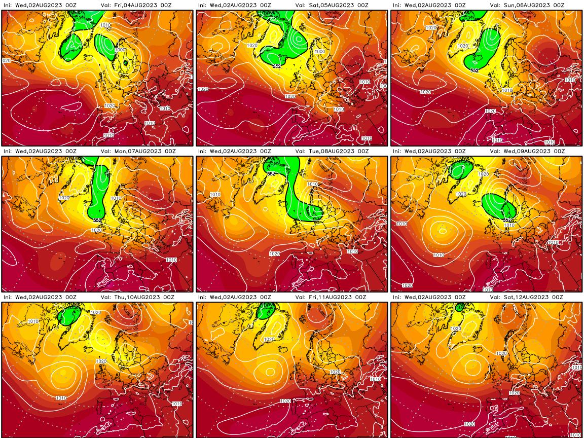 Altezza geopotenziale a 500 hPa e pressione a livello del mare – prossimi 9 giorni