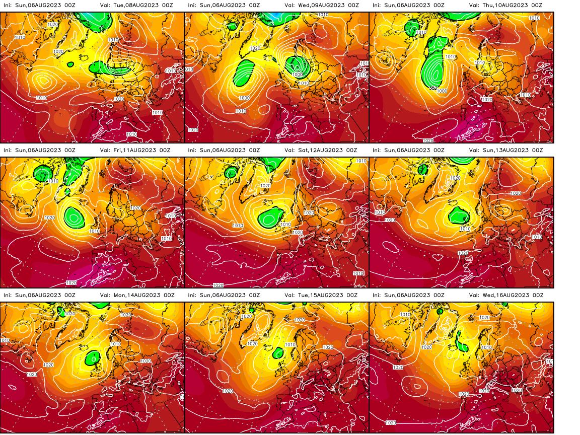 Modèle ECMWF - Carte 500 hpa à 10 jours