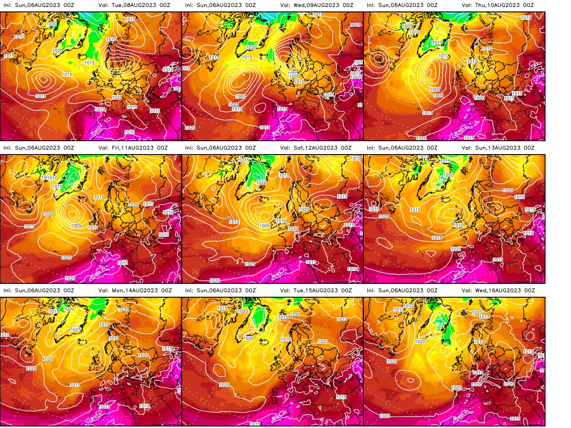 Modèle ECMWF - Carte 850 hpa à 10 jours