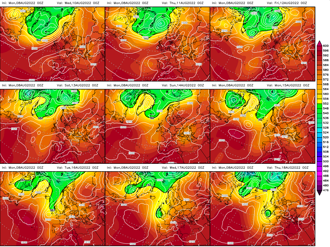 9 panel GEM Forecast charts from Wetterzentrale