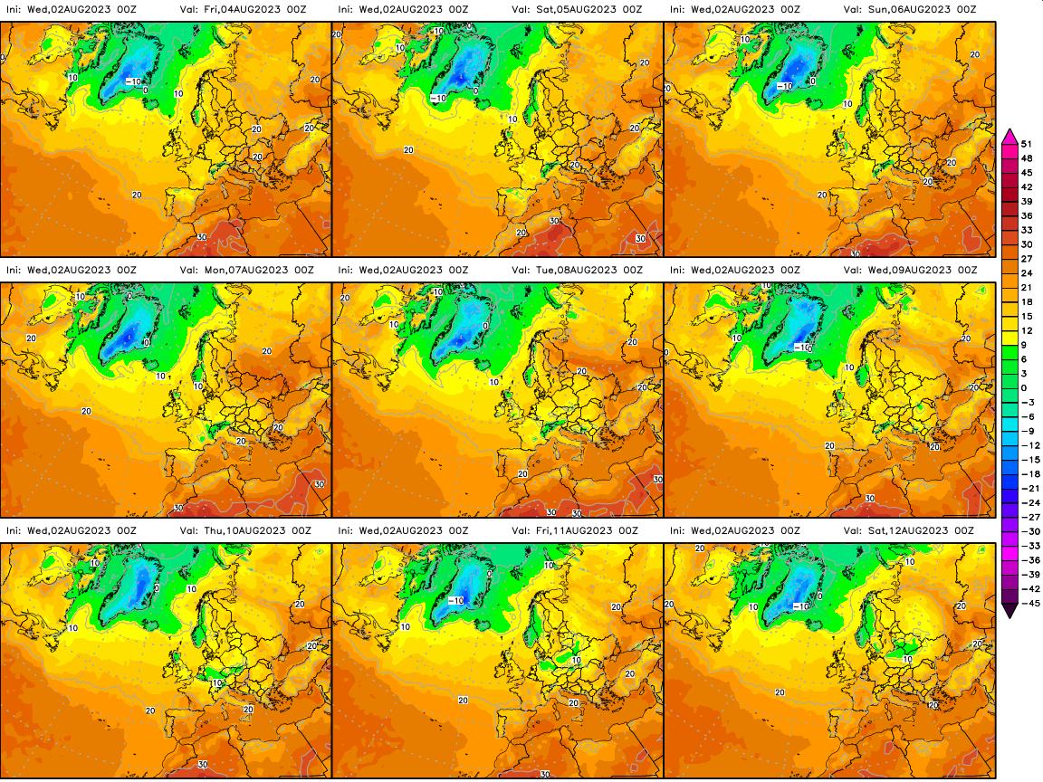 Previsió temperatures Europa