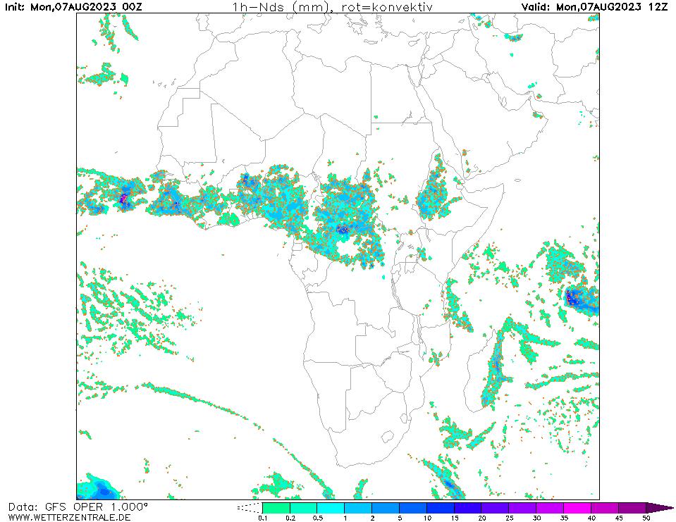 پیش بینی بارش ۱۲ ساعت آینده