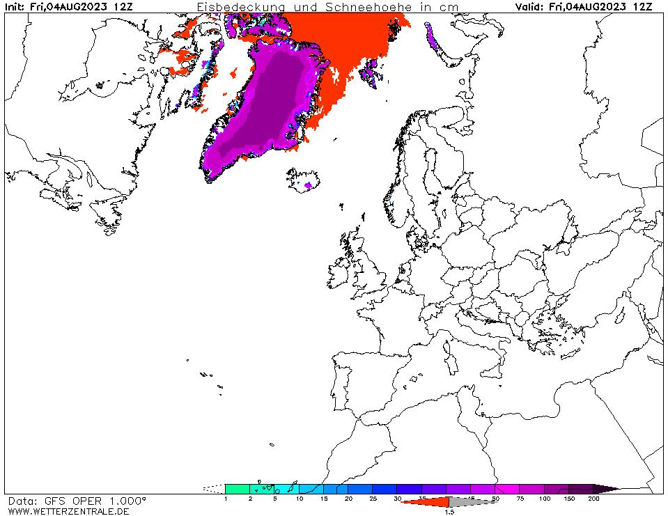 Schneehöhen Europa
