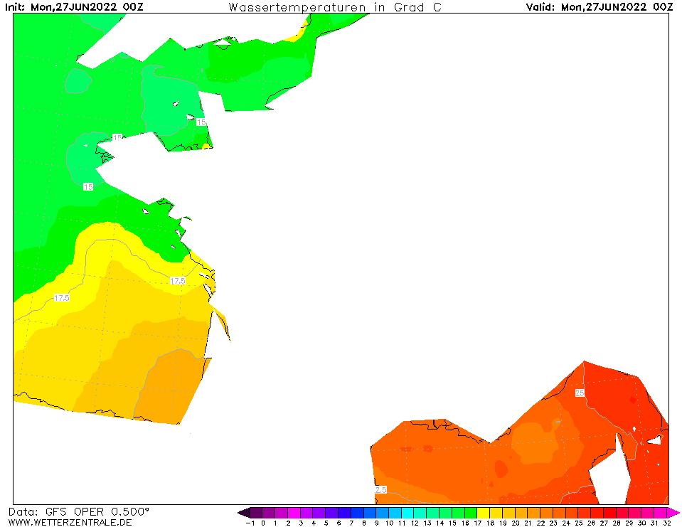 Température de la mer hier à 0h00