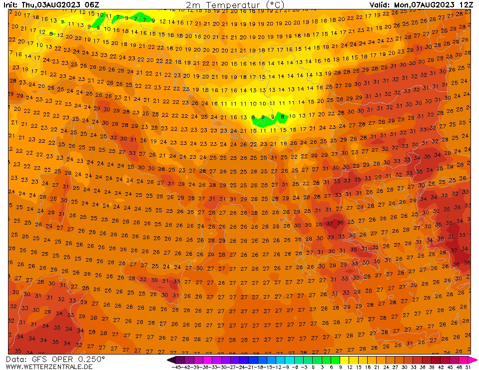 Previsioni meteo temperature 2mt 25 aprile