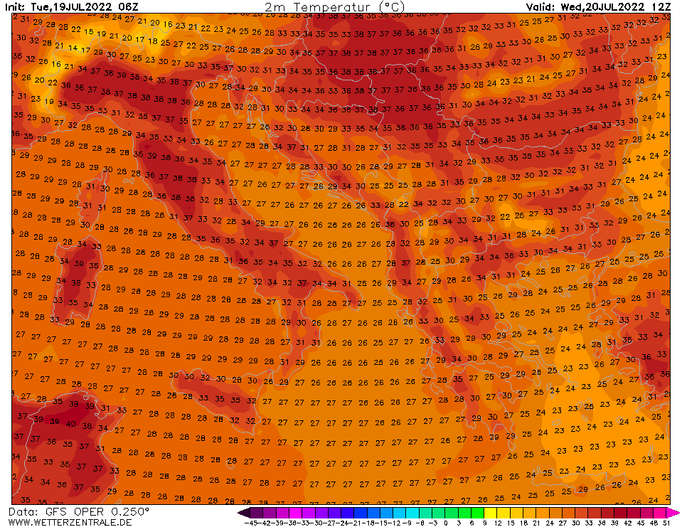 Previsioni meteo Temperatura 2mt ore 12 domenica 22 aprile