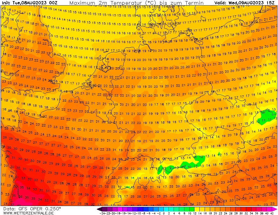 Předpověď teploty vzduchu podle modelu GFS na 39 hodin (druhý den v 15 UTC).