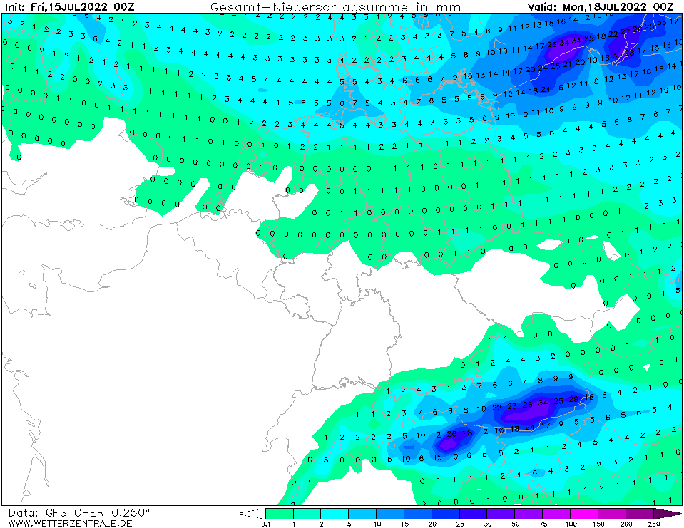Niederschlagskarte (GFS-Modell) die kommenden 3 Tage