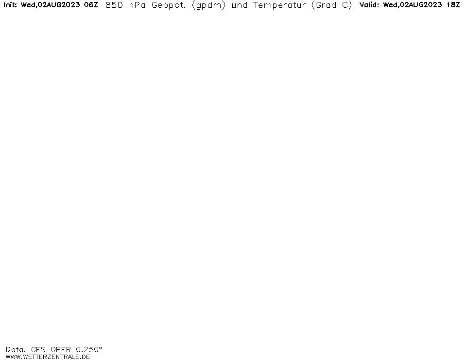 GFS Temperatuur - 850 hPA