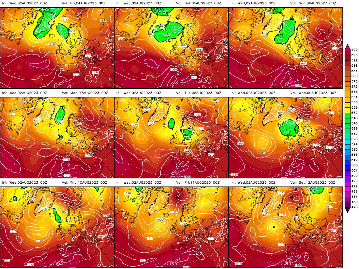 Mapa de temperaturas y presión atmosférica a 500 hPa (5.500 Metros de altura) previstos para los hoy y los próximos 8 días