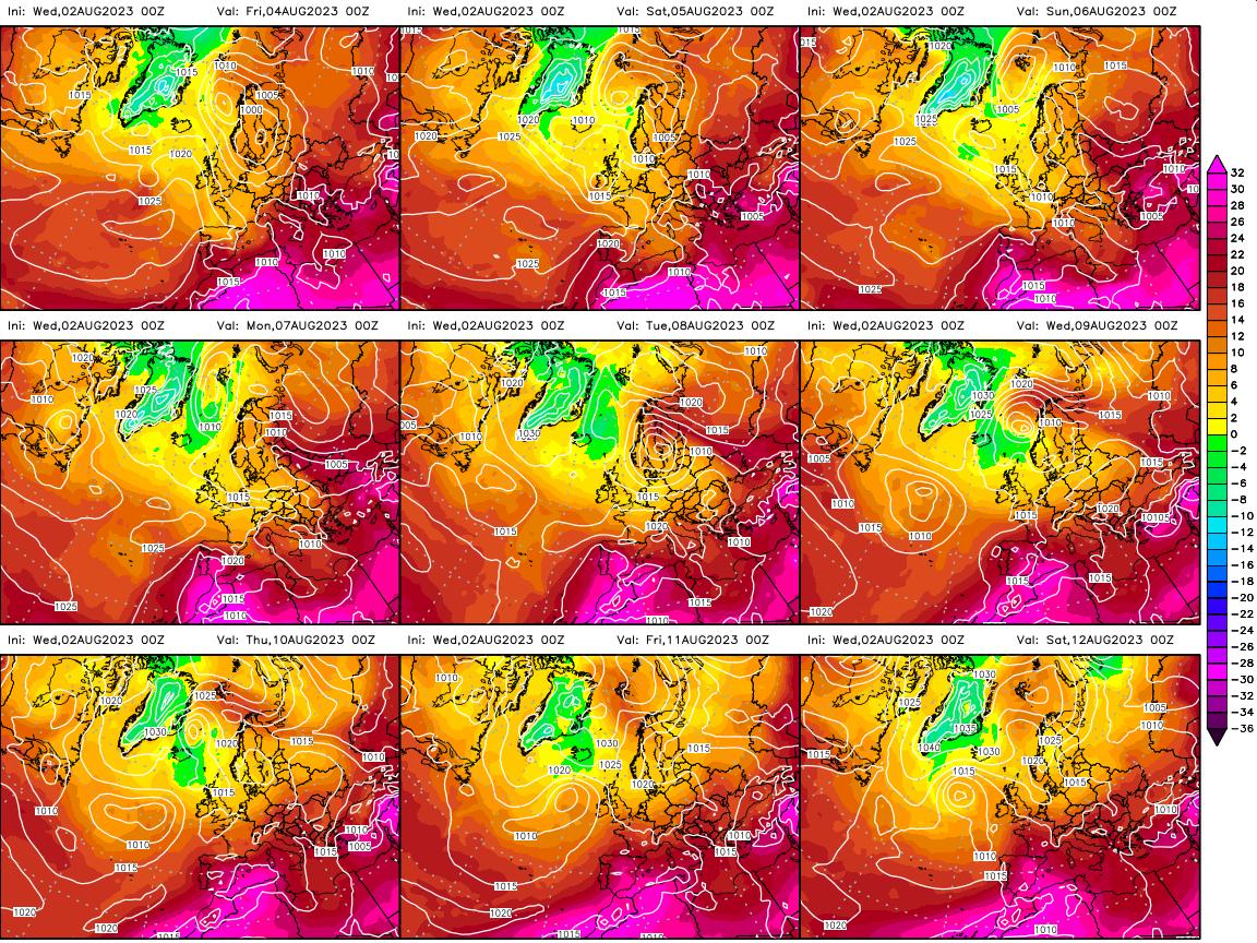 Mapa de temperatures a 850 hPa (1.500 metres d'altura) previstos per avui i els propers 8 dies