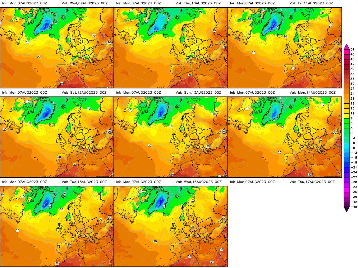 Mapa de temperaturas de superficie (2 metros de altura) para hoy y los próximos 8 días