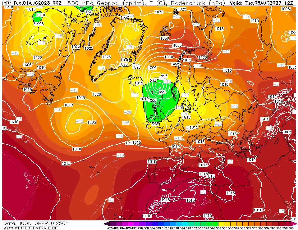 Latest DWD T+180 Forecast chart