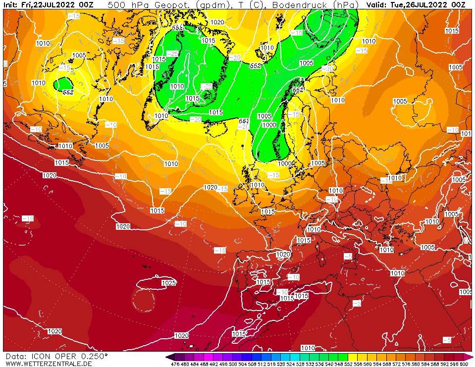 Latest DWD T+96 Forecast chart