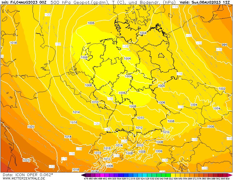 Wettervorhersage der Großwetterlage Europa