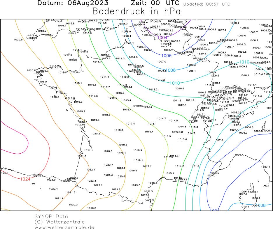 Carte du champ de pression au niveau de la mer pour la France