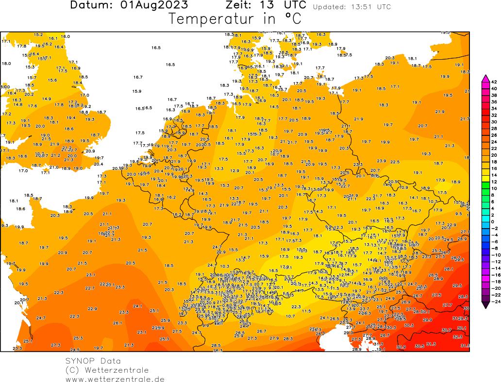 Temperaturkarte Deutschland aus der Wetterzentrale