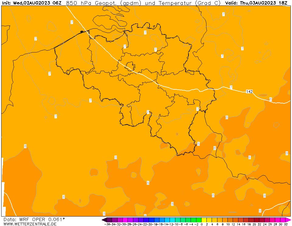 WRF Temperatuur - 850 hPA