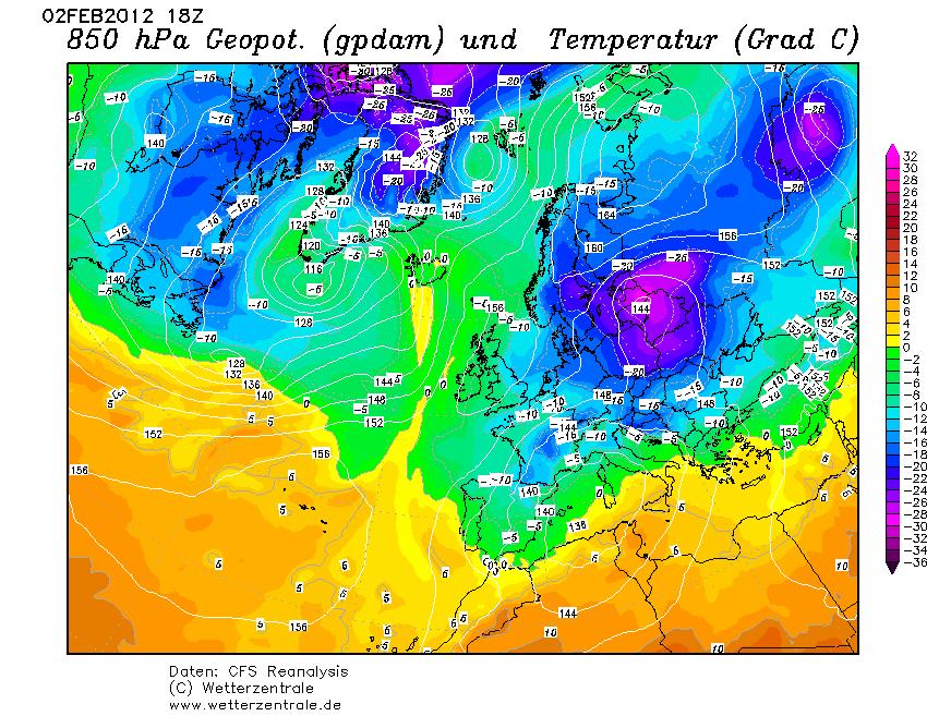 850 hPa Temperatur 02.02.2012, 18 UTC